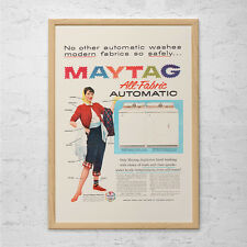 VINTAGE MAYTAG AD  - Retro Mid-Century Ad - Retro Laundry Room Art, Laundry Room