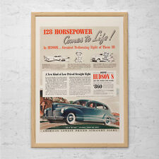 ANTIQUE CAR AD - 1940 Hudson Car - Classic Car Ad Mid-Century Poster Garage Mech