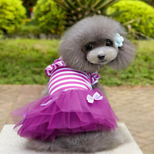Pet Cat Dog Tulle Bowknot Princess Tutu Dress Stripe Puppy Dress Pet Clothes