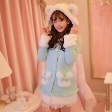 Kawaii Sweet Lolita Cute Bear Ears Jacket Thicken Woolen Overcoat Hoodie Coat #3