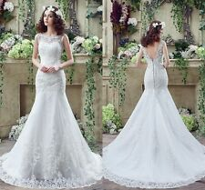 2016 White Ivory Mermaid Applique Lace Court Train Wedding Dress Bridal Gown