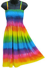 Rainbow Tie Dye Dress Multi Color Stripes Summer Beach Sundress NEW Womens S M L