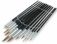 12pc ARTIST PAINT BRUSH SET WITH PLASTIC HANDLES HANDLES IN SIZES 1 to 12 Colour