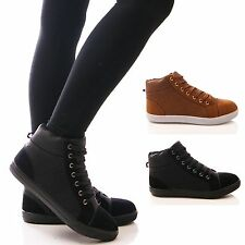 LADIES WOMENS TRAINERS HI TOP LACE UP ANKLE BOOTS BLACK CASUAL SHOES SIZE