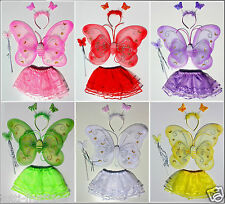 Tutu skirt Fairy butterfly angel wings  dancing dress costume girls skirt 4 pcs