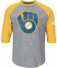 Milwaukee Brewers Majestic Home Stretch Mens Gray Raglan Shirt Big & Tall Sizes