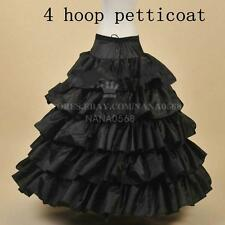 Black 4-Hoop Petticoat/Bridal Hoopless Crinoline/Prom Underskirt/Fancy Skirt