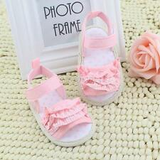 0-18M Infant Baby Girl Summer Sandals Shoes Pleated Lace Soft Cotton Crib Shoes