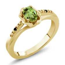 0.51 Ct Oval Green Peridot Black Diamond 18K Yellow Gold Plated Silver Ring