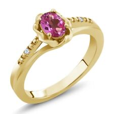 0.52 Ct Oval Pink Mystic Topaz White Topaz 18K Yellow Gold Ring