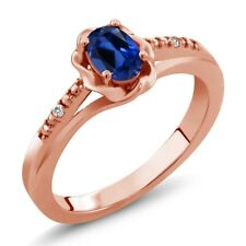 0.52 Ct Blue Simulated Sapphire White Sapphire 18K Rose Gold Plated Silver Ring