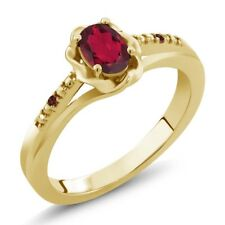0.52 Ct Oval Ruby Red Mystic Topaz Red Garnet 18K Yellow Gold Plated Silver Ring