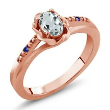 0.45 Ct Oval Sky Blue Aquamarine Blue Sapphire 18K Rose Gold Plated Silver Ring