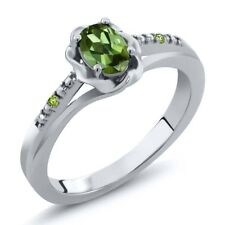 0.51 Ct Oval Green Tourmaline and Green Simulated Peridot 14K White Gold Ring