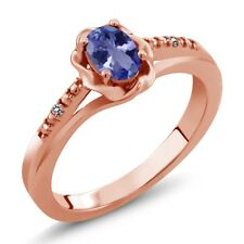 0.46 Ct Oval Blue Tanzanite White Diamond 18K Rose Gold Plated Silver Ring