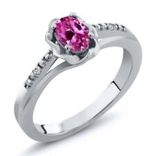 0.52 Ct Oval Pink Created Sapphire White Sapphire 14K White Gold Ring