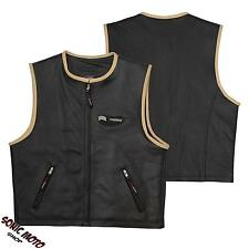 Bikers Vest waist Coat Cowhide Leather Apparel Motorcycle Cruiser All Sizes