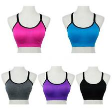 Women Gym Sport Bra Yoga Tank Fitness Crop Top Vest Padded Brassiere Tops R1MC