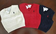 NWT Ralph Lauren Infant Boys Cable Knit Holiday Sweater Vest 3m 6m 9m 18m NEW