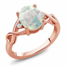 0.65 Ct Oval White Simulated Opal White Topaz 18K Rose Gold Plated Silver Ring