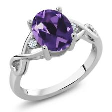 1.71 Ct Oval Purple Amethyst White Topaz 925 Sterling Silver Ring