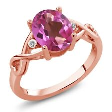 1.84 Ct Oval Pink Mystic Topaz White Sapphire 18K Rose Gold Plated Silver Ring