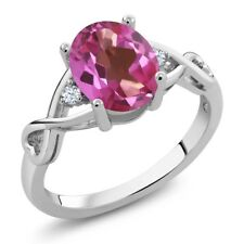 1.85 Ct Oval Pink Mystic Topaz White Topaz 925 Sterling Silver Ring