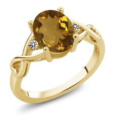 1.46 Ct Oval Whiskey Quartz White Diamond 18K Yellow Gold Plated Silver Ring