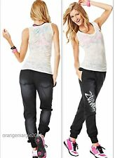 ZUMBA FITNESS 2 PIECE SET! Black Denim Stretch Pants & Burn-Out V Tee--RARE! S M