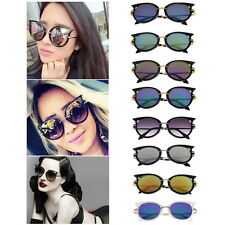 Retro Womens Mens Sunglasses Metal Frame Golden Leg Cat Eye Shades Eyeglasses QT
