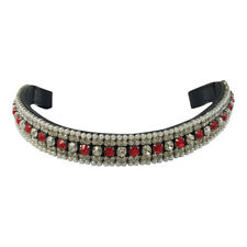 NEW Black Leather MEGA BLING BROWBAND *Red & Clear Crystals* WB SIZE ONLY