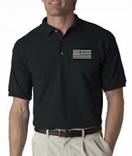 Black American Tactical Flag USA Embroidered Polo Shirt S-3XL 8 Colors