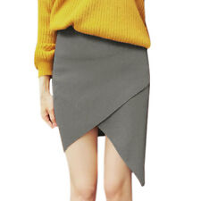 Women Elastic Waist Layered Asymmetric Hem Knitted Skirt