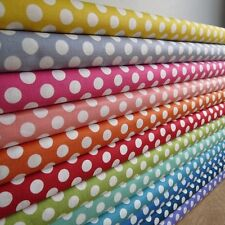 FQ Spots dots rainbow blue pink red yellow grey red green fabric by Makower