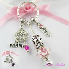 European Bead Family Tree Family Love Charm Keychain Key ring Select Colour