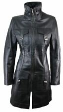 Black Ladies Woman's Vintage Soft Washed Real Leather Jacket Trench Coat