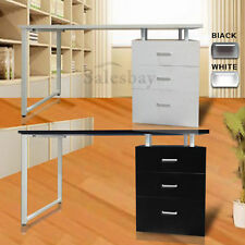 Wooden Office Computer Desk Home Metal Student Study Table 3 Drawer Cabinet