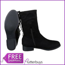 Womens Faux Suede Black Ankle Boots Flat Block Heel Ladies Shoes Size New