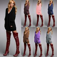 Womens T-shirt V Neck Long Sleeve Loose Long Tops Blouse Pullover Sweater R0H2
