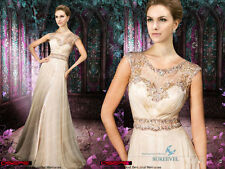 Nude Chiffon Long Formal Evening Dresses Beaded Bridesmaid Dress Party Prom Gown