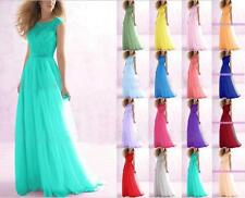 Bateau Neckline Lace Chiffon Evening Bridesmaid Dress Long Gown Party Prom Dress