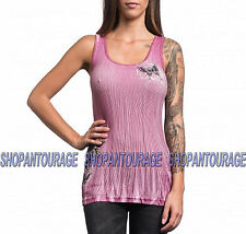 SINFUL Butterfly Love S3761 Women`s New Pink Tank Top By Affliction