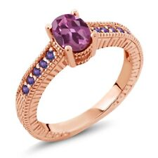 1.25 Ct Oval Pink Tourmaline Purple Amethyst 18K Rose Gold Plated Silver Ring