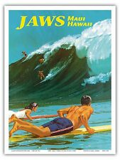 Jaws Maui Hawaii Big Wave Surfing Vintage World Travel Art Poster Print