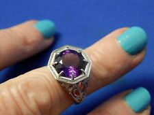 Sterling Silver 925 4.50ct Round Faceted Purple Amethyst Solitaire Filigree Ring
