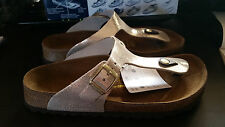 PAPILLIO LIC.BIRKENSTOCK - GIZEH - SHINY BIEGE LEATHER RRP $154 SAVE $34