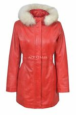 SYLVIA Ladies Red Trench Mid Length Fur Hooded Designer Leather Jacket Coat