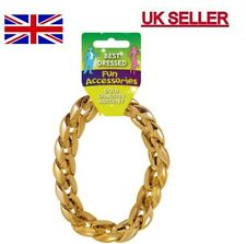 Mens Gangster Bracelet Gold for 70s Bling Fancy Dress Rapper Accessory Jewellery