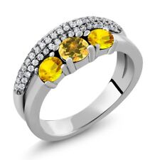 1.88 Ct Round Yellow Citrine Yellow Sapphire 925 Sterling Silver Ring
