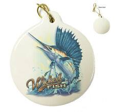 Wicked Fish Sail Fish - Christmas Xmas Tree Porcelain Ornaments
